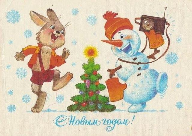 Старые новогодние открытки, вспоминая детство